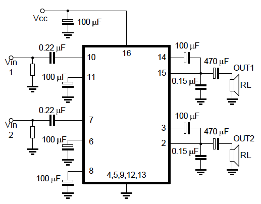stereo audio amplifier using tea2025 chip - 26 november 2011 - circuits